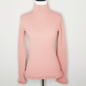 Jill Stuart Mauve Pink Ribbed Long Sleeve Top S